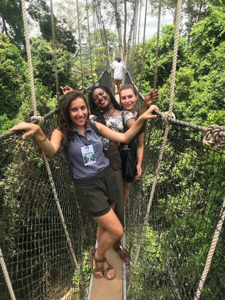 three girls posing at Kakum National Park